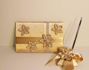 Champagne Wedding Guest Book and Pen Set -Custom Made