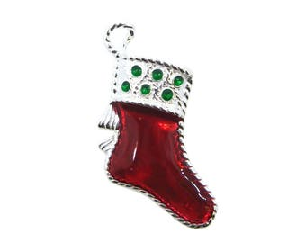 Sterling silver enamel Christmas stocking charm SKU: 201280