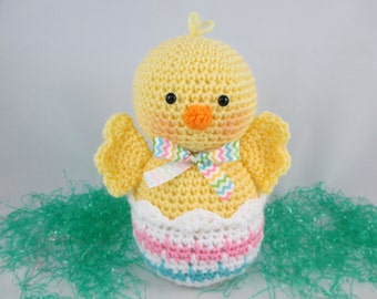 Easter chick and egg crocheted chick and egg easter gifts easter decor crochet easter gift crochet easter basket chick easter basket goodie negle Choice Image