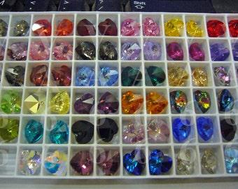 35 New Colors 10mm Heart Pendant Swarovski Crystal 6202, 6228 AB Col Choice 10p Top Drill Love Pendant