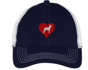 Love Heart Boston Terrier Name Mesh Back Hat.   - Mesh Back.  Monogram Baseball Hat  Trucker Hat DT607