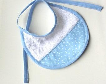 Blue Newborn bib with hand-sewn white triangles