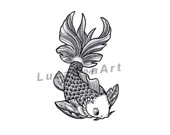 Fish handmade Drawing, Instant Download, Digital Print, Made in pencil, charcoal and ink, Tattoo Sketch, Tattoo Flash