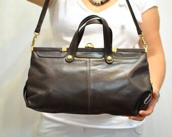 Vintage LEATHER SHOULDER BAG , women's leather bag.................(614)