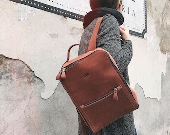 HandMade LEATHER BACKPACK  / Citi Backpack / Handcrafted leather Rucksack on zipper / Cognac brown leather bag