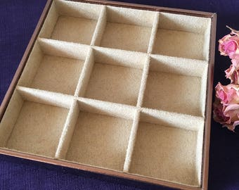 Supply Jewelry Tray. Rose Gold and Beige Flocked Jewelry Keeper. Jewelry Organizer. Stackable Jewelry Tray.