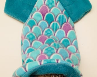Mermaid Tail Fleece Snuggle Sack for Hedgehogs, Rabbits, Guinea pigs, Sugar Gliders, Hamster and Small Reptiles.