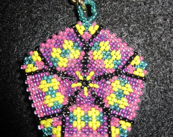 Peyote Stitched Bright Pentagon Zipper Pull or Pendant...1 of a kind...hand made...1397h