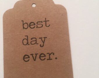 Set of 24 Kraft Typewriter Best Day Ever Wedding Bridal Shower Gift Tags Favor Tags
