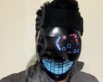 Prom LED Mask Light Up Robot Cyborg Eyes FX Mask - Black Mask for DJ Party Cosplay Costume Edm Rave helmet Cyber Rave Mask Bot