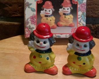 Vintage Clown Décor Shakers, Circus Clowns, Clown Salt and Pepper Shakers, Clown Shakers, Circus Décor, Clown tableware