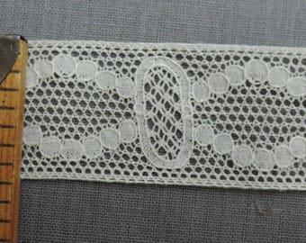 2-3/8 Yards Vintage Lace Antique 1900s, 1 inch wide ivory cotton Vintage Trim Edwardian