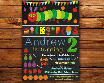Sale Very Hungry Caterpillar Birthday Invitation,Very Hungry Caterpillar party, Caterpillar Birthday Invitation -DIGITAL FILE (AZ)