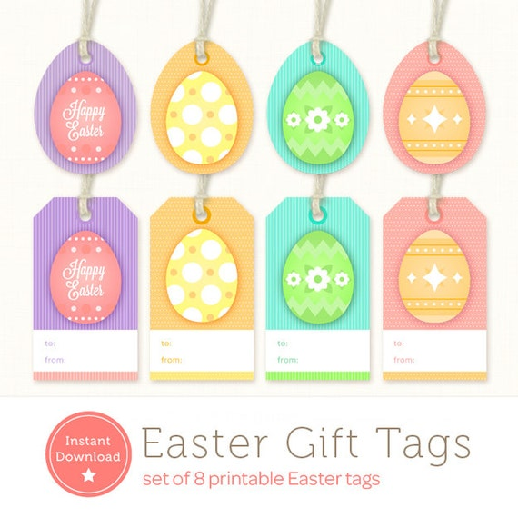 Printable easter tags easter gift tags instant download negle