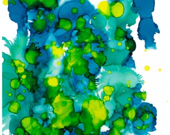 Greenery Alcohol Ink Painting