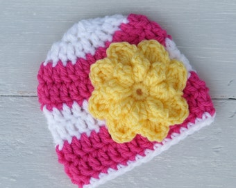 Pink and Yellow Hat With Flower / Custom Baby Hat / Baby Girl Hat / Baby Hat With Flower / Striped Baby Hat / Crochet Baby Hat / Baby Girl