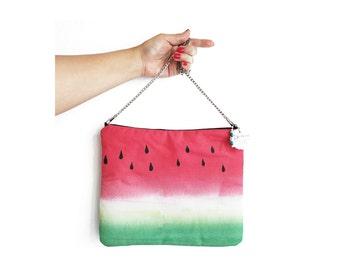 Watermelon bag, bag purse, top handle bag, watermelon crossbody bags, fruit bag, womans purse, evening bag, bag with strap. Watermelon gift