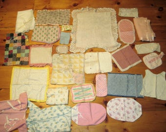 Large lot of Vintage Doll Blankets and bedding