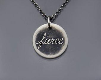 Tiny Sterling Silver Fierce Necklace