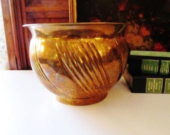 Hollywood Regency Brass Cachepot, Vintage Brass Pot, Brass Planter, India Brass, Boho Chic, Rustic Brass Decor