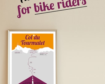 Poster Col du Tourmalet Tour de France A4 with record field