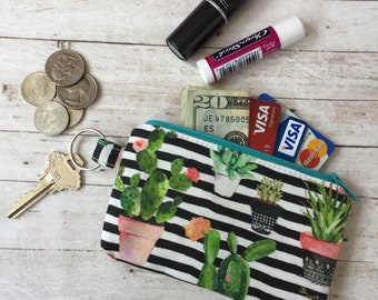 Cactus Striped Little Zipper Pouch Wallet; Coin Pouch; Coin Purse; Cacti Zipper Pouch; ID Wallet; Succulent; Pouch Wallet; Jewelry Pouch