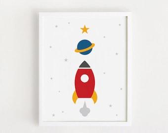 Printable - Outer Space Nursery Art Spaceship Room Art Rocket Wall Art Baby boy Room Galaxy Art Digital art 8x10, A4 INSTANT DOWNLOAD