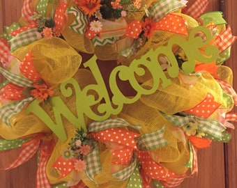 Orange and green deco mesh Welcome wreath