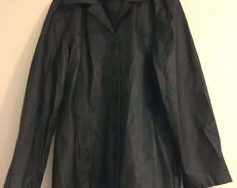 ON SALE Jacqueline Ferrar Black Leather Ladies Jacket Coat Size XL Tall