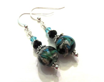 Black & Turquoise Lampwork Earrings With Turquoise and Black Swarovski Crystals, Turquoise Earrings, Black Earrings, Lampwork Jewelry