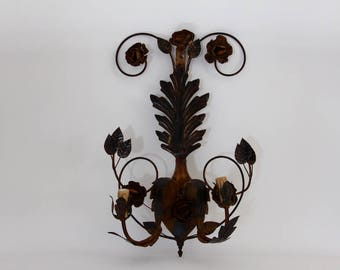 Romantic French Vintage Tole Floral Wall Light/ Sconce Shabby Chic, Jeanne D'arc Living, French Nordic LARGE