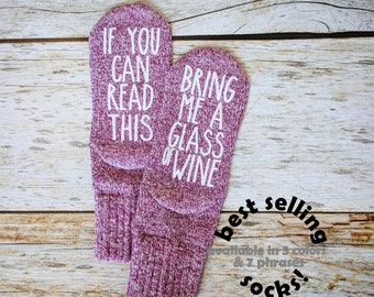 Mother's Day Gift From Daughter. If You Can Read This,  Wine Socks. Message Socks. Gift Under 15. Gift for Mom Gift for Her
