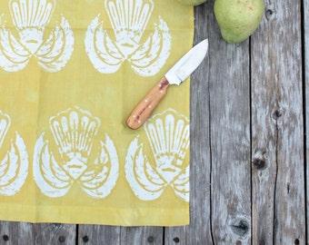 linen tea towel chartreuse double wings batik