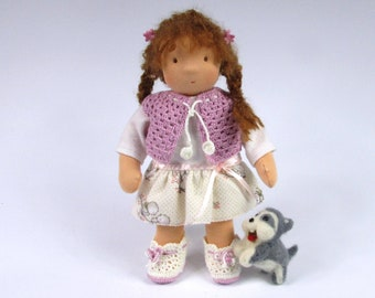 Waldorf Doll with felted Husky