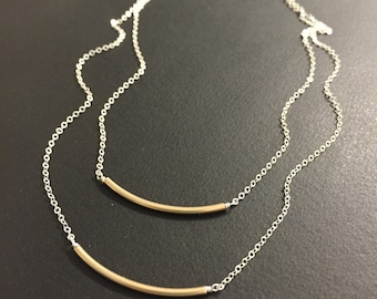 Layered bar necklace - Available in Sterling silver chain or 14K gold filled cable chain with silver, shiny gold or antique gold tubes