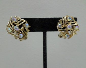 Vintage clip on earrings gold tone metal with aurora borealis stones costume jewelry