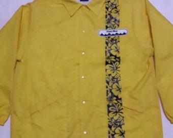 vintage ocean blues windbreaker button down yellow large