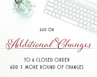 Additional Changes, Order 1 more round of changes for you order, Digital File, Previously Closed Order, More than 2 changes on current order