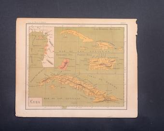 Antique Cuba map, Cuba map, map of Cuba, antique maps, atlas map, 1900, map lithography, map print, map poster, Canary islands, Puerto Rico