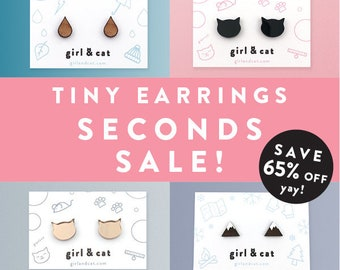 Tiny Stud Earring Seconds, Rose Gold, Black Cat Earrings, Mountain Studs, Raindrop Teardrop Dainty Studs, Earring Sale, Cat Lover Gift