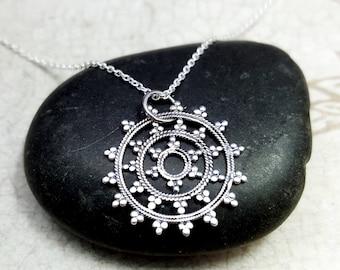 Sterling silver Mandala necklace. Mala Necklace. Bohemian necklace. Sterling filigree pendant. Circle of life necklace. Boho necklace.