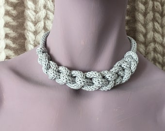 Chunky grey soft cotton knitted necklace