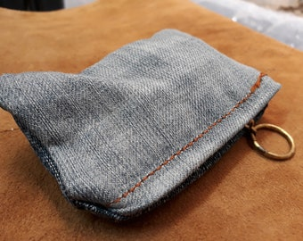 Handmade recycled denim coin purse with zipper