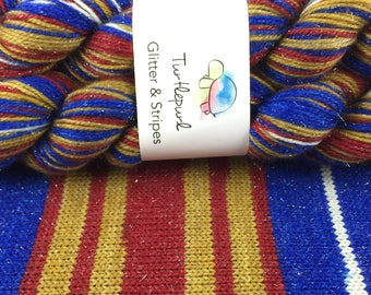 Wonder Woman - Hand-Dyed Self-Striping Glitter Sock Yarn