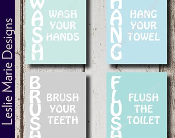 Bathroom Wall Decor | Bathroom Decor | Bathroom Sign | Bathroom Art | Bathroom Wall Art | Bathroom Wall Art Decor | Wash Hang Brush Flush