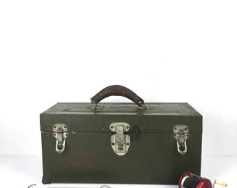 Full Vintage Tackle Box 1940s Green Metal Full Tackle Box Old Leather Handle Tackle Box Original Full 1940s Fishing Tackle Box
