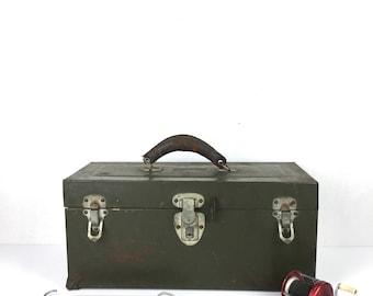 Full Vintage Tackle Box 1940s Green Metal Full Tackle Box Old Leather Handle Tackle Box Original Full 1940s Fishing Tackle Box