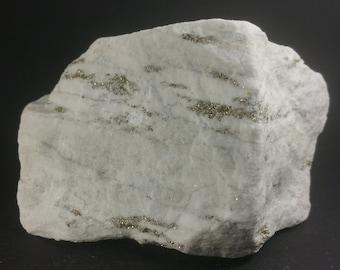 Golden pyrite crystals on fine-grained, snow-white sugar-dolomite, pit Lengenbach, Switzerland, minerals (485 g!!!)