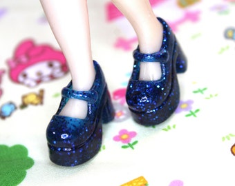 Blythe Blue with glitter Platform Mary Jane shoes