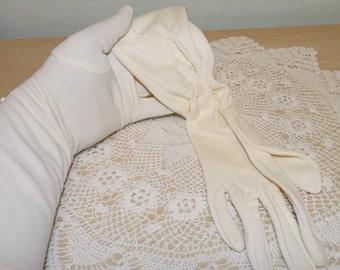 Vintage Cream Fabric or Nylon Gloves, Ecru, Cream, by Bri Nylon, 1950's, 1960's, Mid Century, Wedding, Opera Gloves, Rockabilly Gloves
